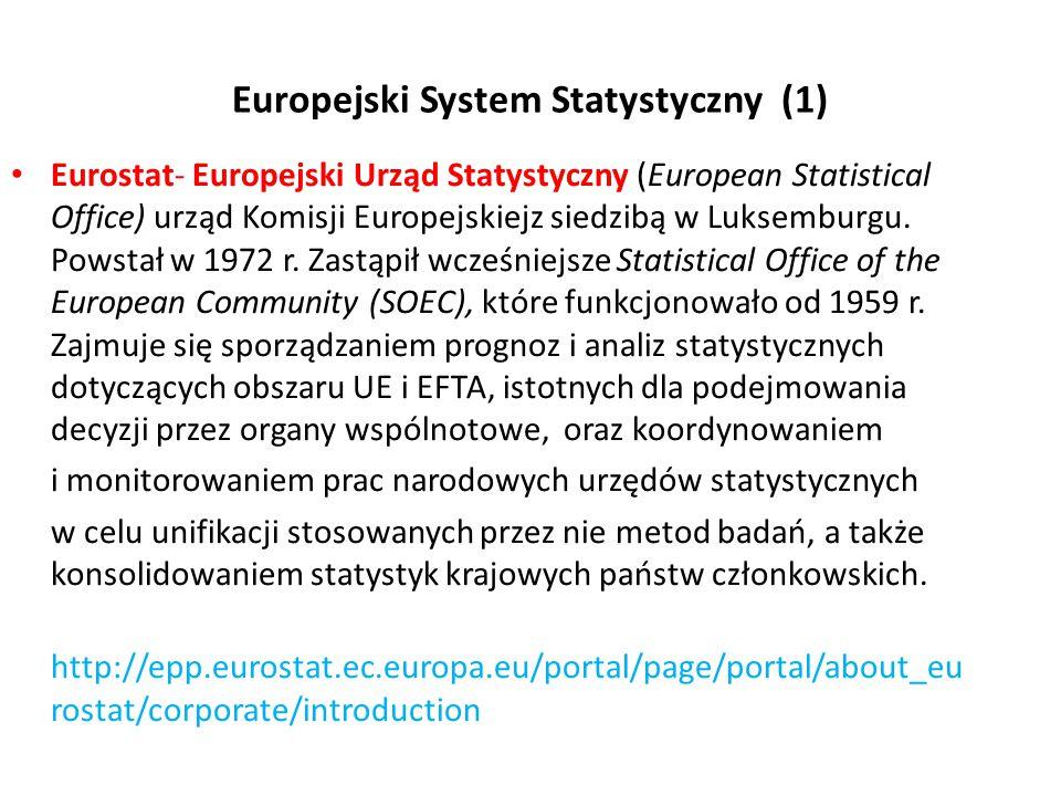 Europejski System Statystyczny (1) Eurostat- Europejski Urząd Statystyczny (European Statistical Office) urząd Komisji Europejskiejz siedzibą w Luksem