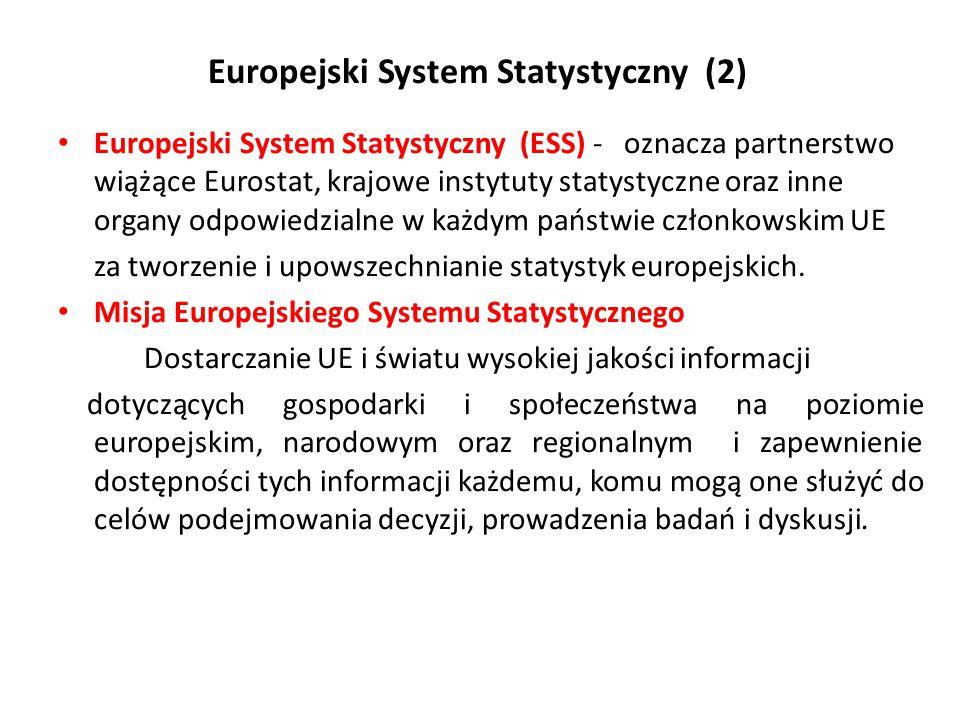 Europejski System Statystyczny (2 ) Europejski System Statystyczny (ESS) - oznacza partnerstwo wiążące Eurostat, krajowe instytuty statystyczne oraz i