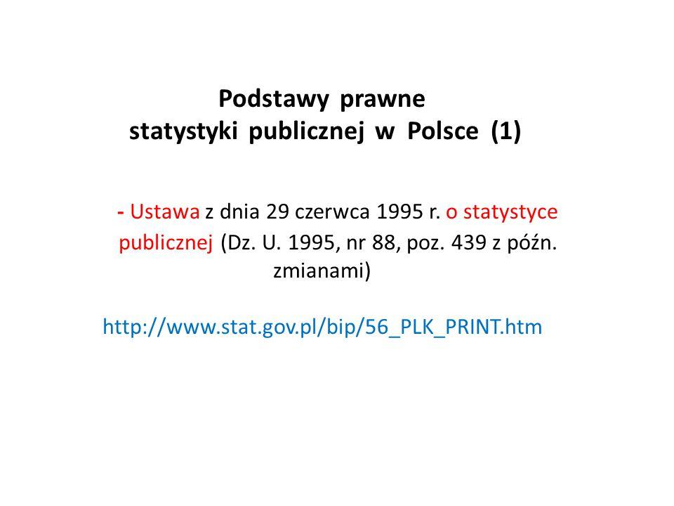 Organizacja statystyki publicznej w Polsce (1) Służby statystyki publicznej stanowią Prezes Głównego Urzędu Statystycznego (GUS), podlegli mu dyrektorzy urzędów statystycznych oraz inne jednostki statystyki, o których mowa w art.