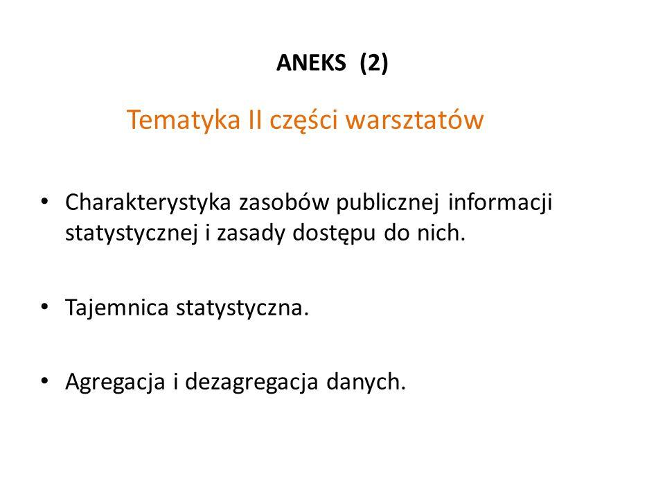 ANEKS (2) Tematyka II części warsztatów Charakterystyka zasobów publicznej informacji statystycznej i zasady dostępu do nich. Tajemnica statystyczna.
