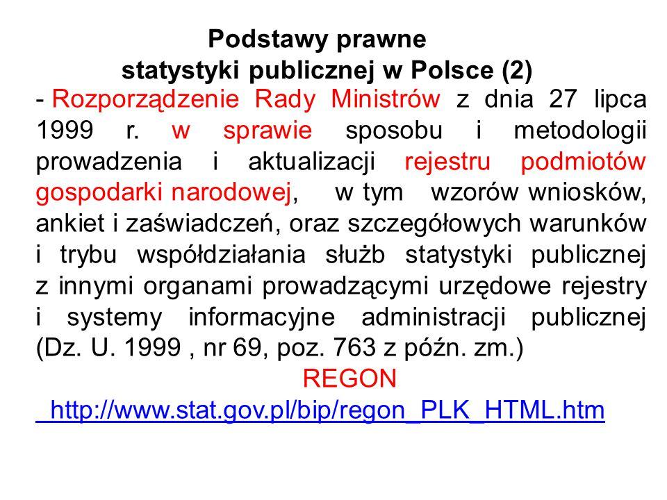 Podstawy prawne statystyki publicznej w Polsce (2) - Rozporządzenie Rady Ministrów z dnia 27 lipca 1999 r. w sprawie sposobu i metodologii prowadzenia