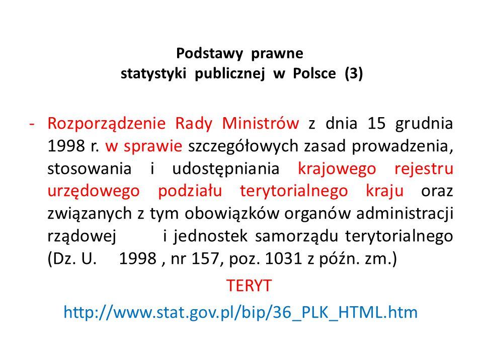 Podstawy prawne statystyki publicznej w Polsce (3) -Rozporządzenie Rady Ministrów z dnia 15 grudnia 1998 r. w sprawie szczegółowych zasad prowadzenia,