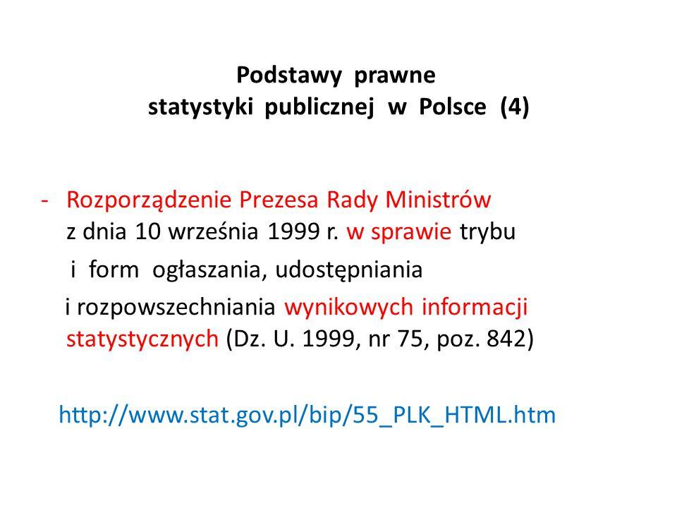 Podstawy prawne statystyki publicznej w Polsce (4) -Rozporządzenie Prezesa Rady Ministrów z dnia 10 września 1999 r. w sprawie trybu i form ogłaszania