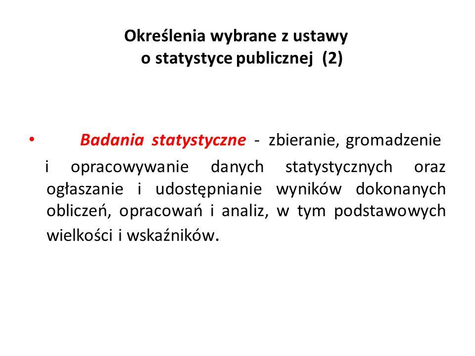 Określenia wybrane z ustawy o statystyce publicznej (2) Badania statystyczne - zbieranie, gromadzenie i opracowywanie danych statystycznych oraz ogłas