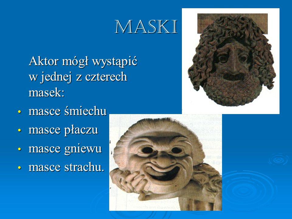MASKI Aktor mógł wystąpić w jednej z czterech masek: masce śmiechu masce śmiechu masce płaczu masce płaczu masce gniewu masce gniewu masce strachu.