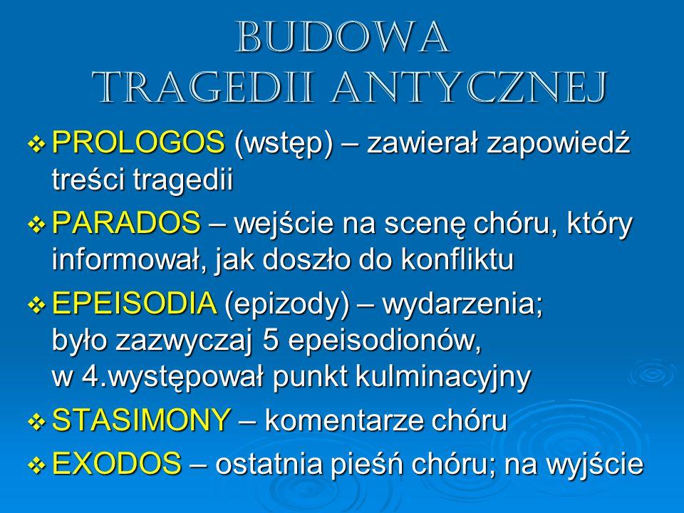 BUDOWA TRAGEDII ANTYCZNEJ  PROLOGOS (wstęp) – zawierał zapowiedź treści tragedii  PARADOS – wejście na scenę chóru, który informował, jak doszło do konfliktu  EPEISODIA (epizody) – wydarzenia; było zazwyczaj 5 epeisodionów, w 4.występował punkt kulminacyjny  STASIMONY – komentarze chóru  EXODOS – ostatnia pieśń chóru; na wyjście
