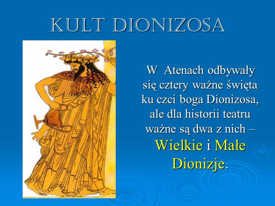 KULT DIONIZOSA W Atenach odbywały się cztery ważne święta ku czci boga Dionizosa, ale dla historii teatru ważne są dwa z nich – Wielkie i Małe Dionizje.