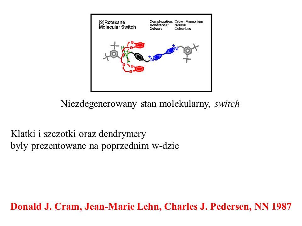 Donald J. Cram, Jean-Marie Lehn, Charles J. Pedersen, NN 1987 Niezdegenerowany stan molekularny, switch Klatki i szczotki oraz dendrymery byly prezent