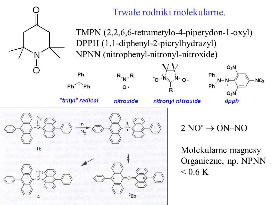 Trwałe rodniki molekularne. TMPN (2,2,6,6-tetrametylo-4-piperydon-1-oxyl) DPPH (1,1-diphenyl-2-picrylhydrazyl) NPNN (nitrophenyl-nitronyl-nitroxide) 2