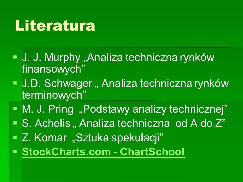 """Literatura   J. J. Murphy """"Analiza techniczna rynków finansowych""""   J.D. Schwager """" Analiza techniczna rynków terminowych""""   M. J. Pring """"Podsta"""