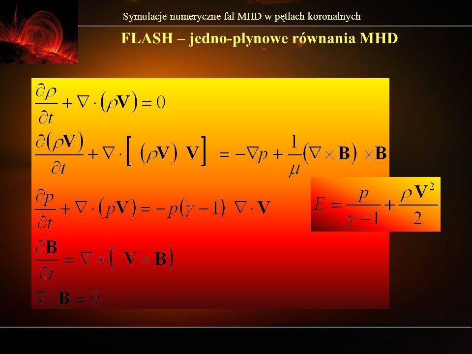 Symulacje numeryczne fal MHD w pętlach koronalnych FLASH – jedno-płynowe równania MHD