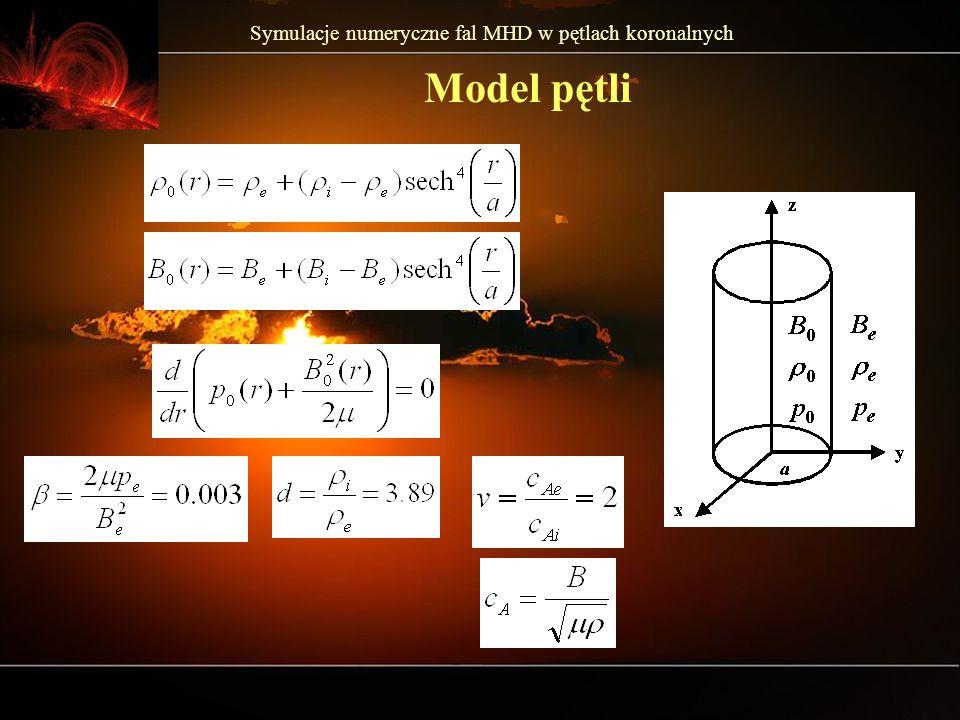 Symulacje numeryczne fal MHD w pętlach koronalnych Model pętli