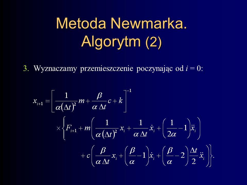 Metoda Newmarka. Algorytm (2) 3.Wyznaczamy przemieszczenie poczynając od i = 0: