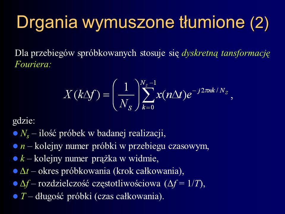 Drgania wymuszone tłumione (2) Dla przebiegów spróbkowanych stosuje się dyskretną tansformację Fouriera: gdzie: N s – ilość próbek w badanej realizacji, n – kolejny numer próbki w przebiegu czasowym, k – kolejny numer prążka w widmie, Δt – okres próbkowania (krok całkowania), Δf – rozdzielczość częstotliwościowa (Δf = 1/T), T – długość próbki (czas całkowania).