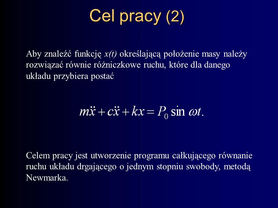 Cel pracy (2) Aby znaleźć funkcję x(t) określającą położenie masy należy rozwiązać równie różniczkowe ruchu, które dla danego układu przybiera postać Celem pracy jest utworzenie programu całkującego równanie ruchu układu drgającego o jednym stopniu swobody, metodą Newmarka.