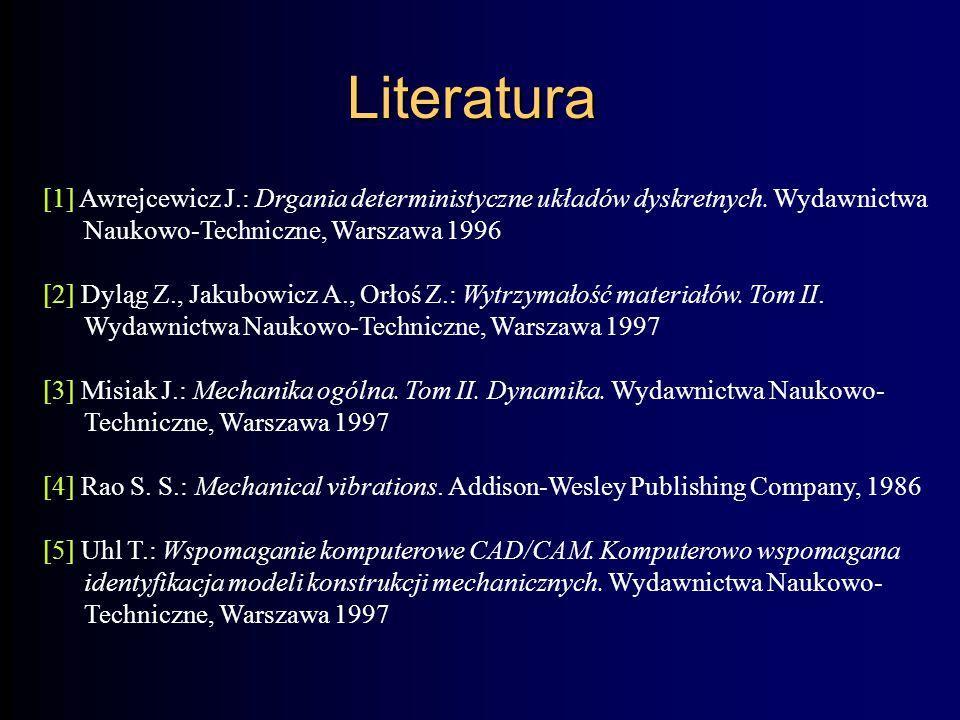 [1] Awrejcewicz J.: Drgania deterministyczne układów dyskretnych.