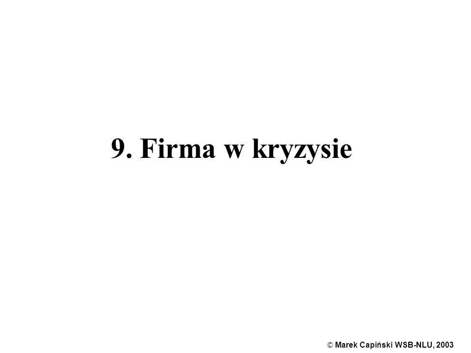 © Marek Capiński WSB-NLU, 2003 1 9. Firma w kryzysie