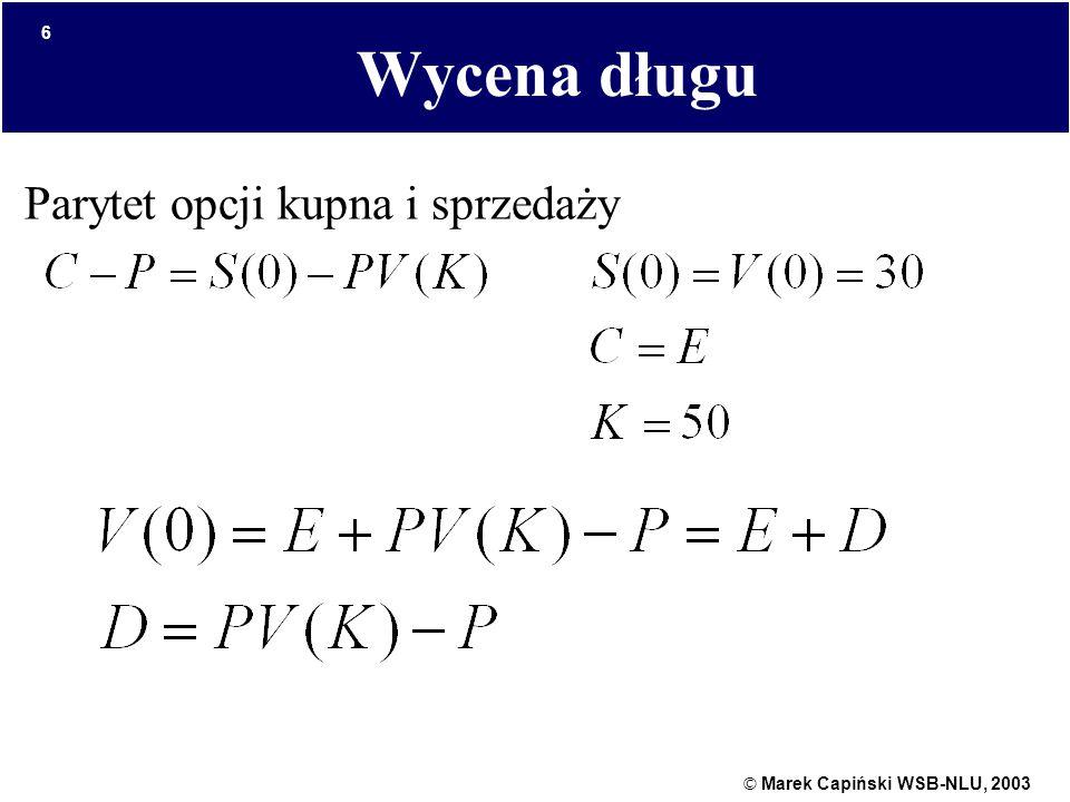 © Marek Capiński WSB-NLU, 2003 6 Wycena długu Parytet opcji kupna i sprzedaży