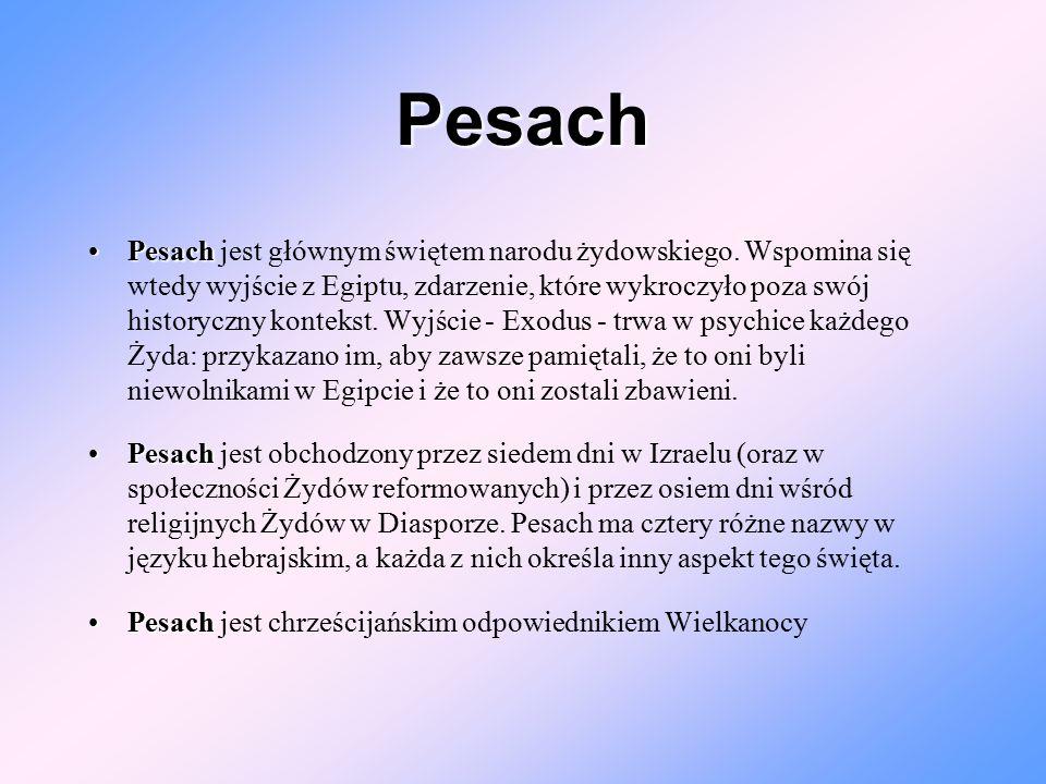 Pesach PesachPesach jest głównym świętem narodu żydowskiego. Wspomina się wtedy wyjście z Egiptu, zdarzenie, które wykroczyło poza swój historyczny ko