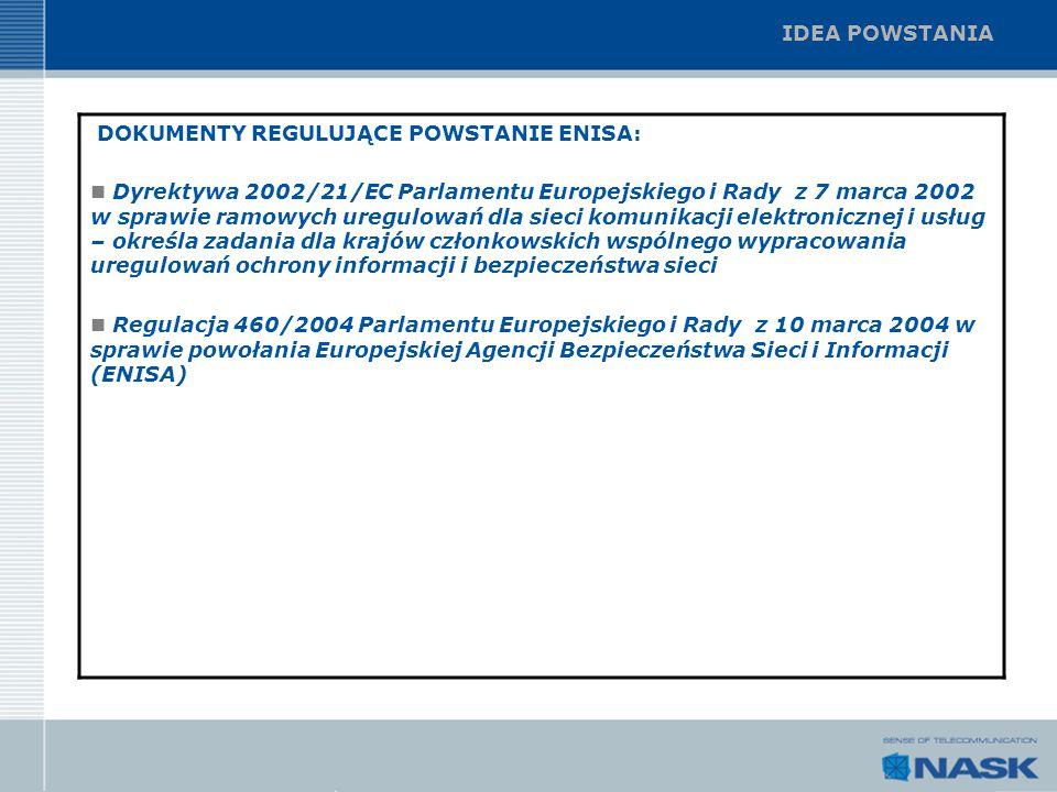 IDEA POWSTANIA DOKUMENTY REGULUJĄCE POWSTANIE ENISA: Dyrektywa 2002/21/EC Parlamentu Europejskiego i Rady z 7 marca 2002 w sprawie ramowych uregulowań