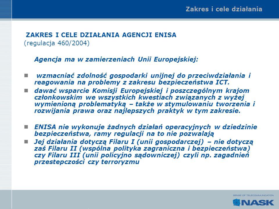 Zakres i cele działania ZAKRES I CELE DZIAŁANIA AGENCJI ENISA (regulacja 460/2004) Agencja ma w zamierzeniach Unii Europejskiej: wzmacniać zdolność go