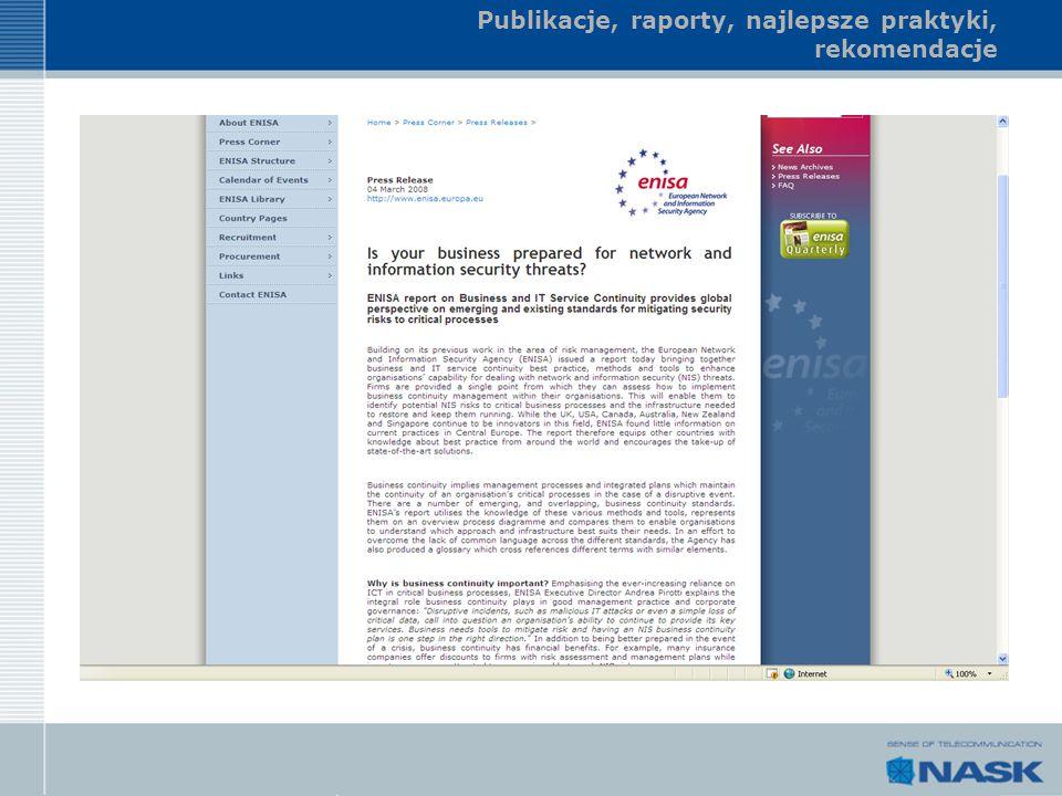 Publikacje, raporty, najlepsze praktyki, rekomendacje