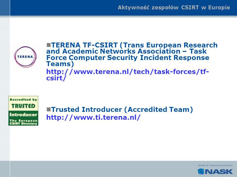 Aktywność zespołów CSIRT w Europie TERENA TF-CSIRT (Trans European Research and Academic Networks Association – Task Force Computer Security Incident