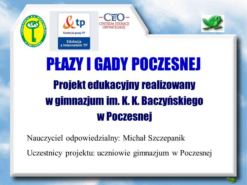 PŁAZY I GADY POCZESNEJ Projekt edukacyjny realizowany w gimnazjum im.