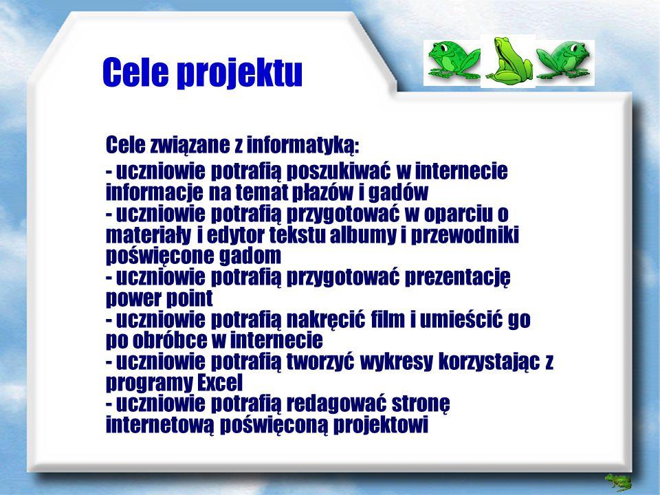 Cele projektu Celem projektu była inwentaryzacja przyrodnicza w gminie Poczesna dotycząca wstępowania płazów i gadów. Uczniowie przy tej okazji nauczy