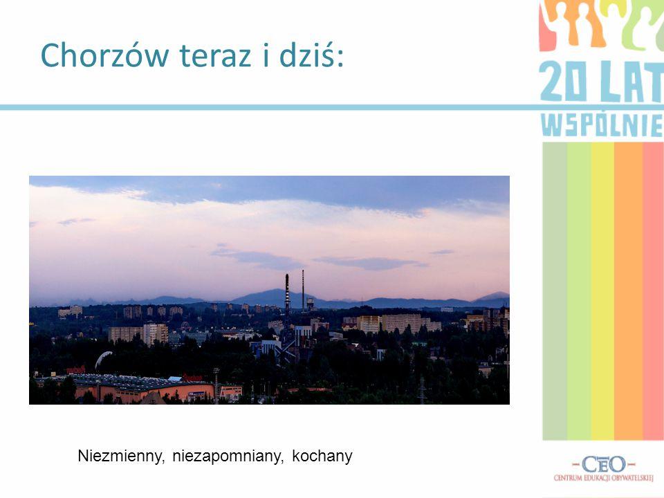 Urząd miasta Chorzów: Po lewej gmach UM, a po prawej godło Chorzowa