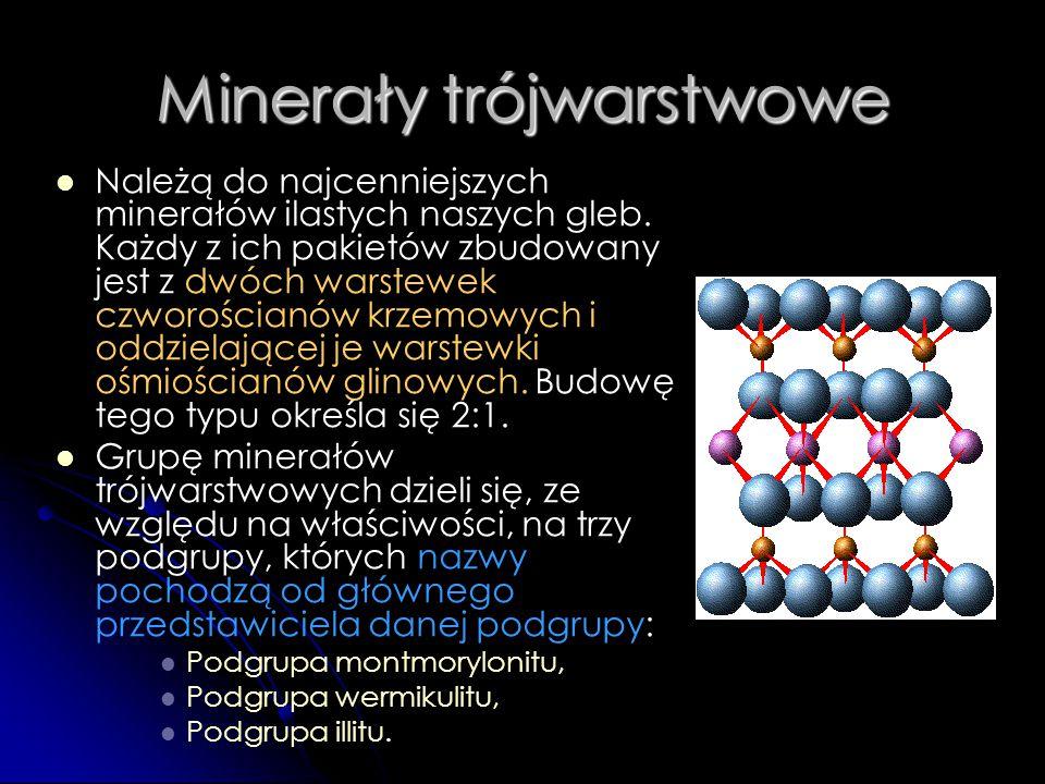 Minerały trójwarstwowe Należą do najcenniejszych minerałów ilastych naszych gleb. Każdy z ich pakietów zbudowany jest z dwóch warstewek czworościanów