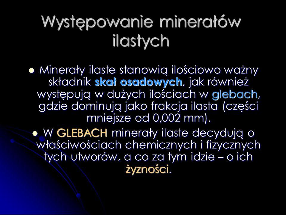 Występowanie minerałów ilastych Minerały ilaste stanowią ilościowo ważny składnik skał osadowych, jak również występują w dużych ilościach w glebach,