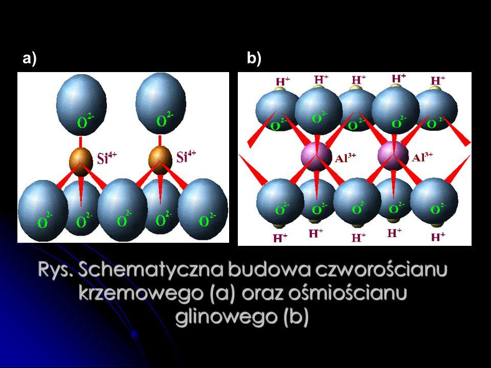 Rys. Schematyczna budowa czworościanu krzemowego (a) oraz ośmiościanu glinowego (b) a)b)
