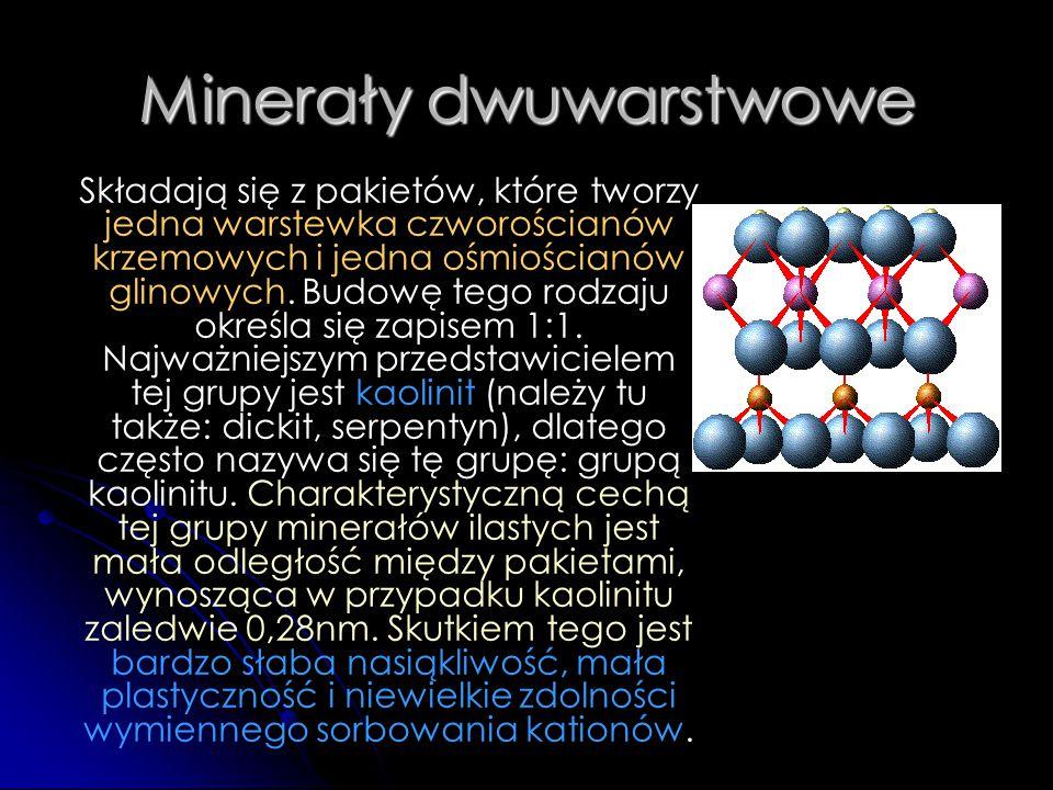 Minerały dwuwarstwowe Składają się z pakietów, które tworzy jedna warstewka czworościanów krzemowych i jedna ośmiościanów glinowych. Budowę tego rodza