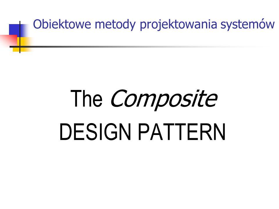 Obiektowe metody projektowania systemów The Composite DESIGN PATTERN