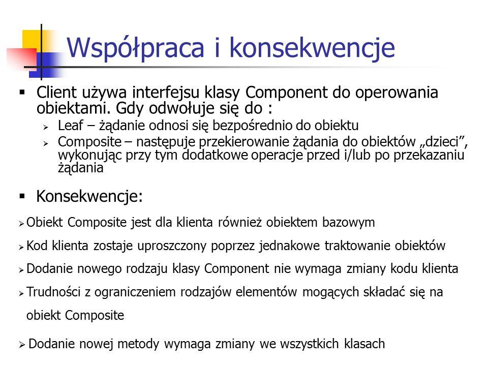 Współpraca i konsekwencje  Client używa interfejsu klasy Component do operowania obiektami.
