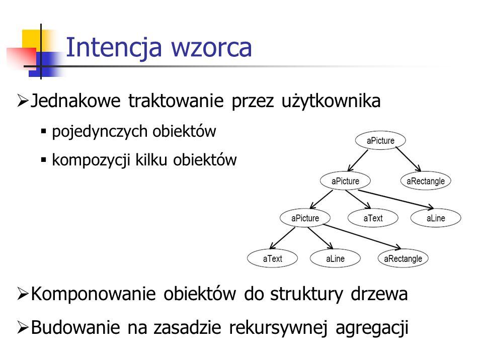 Intencja wzorca  Jednakowe traktowanie przez użytkownika  pojedynczych obiektów  kompozycji kilku obiektów  Komponowanie obiektów do struktury drzewa  Budowanie na zasadzie rekursywnej agregacji