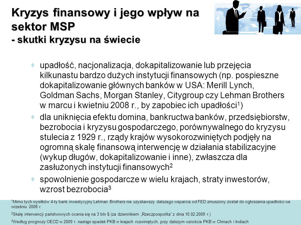  upadłość, nacjonalizacja, dokapitalizowanie lub przejęcia kilkunastu bardzo dużych instytucji finansowych (np.