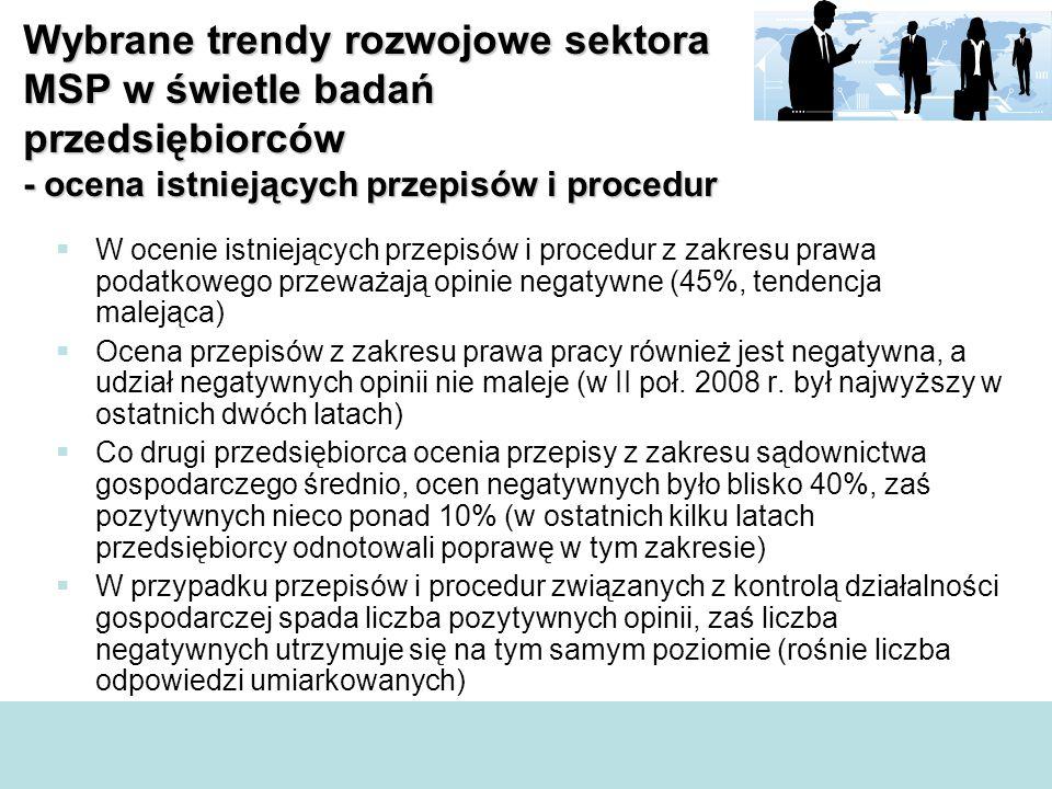  W ocenie istniejących przepisów i procedur z zakresu prawa podatkowego przeważają opinie negatywne (45%, tendencja malejąca)  Ocena przepisów z zakresu prawa pracy również jest negatywna, a udział negatywnych opinii nie maleje (w II poł.