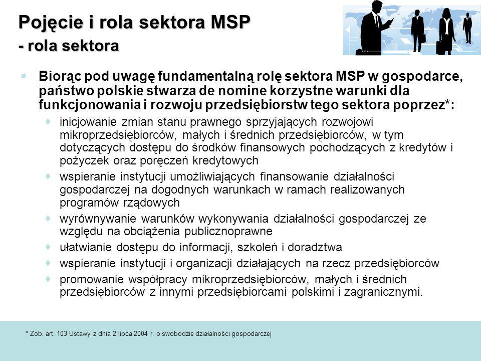 Pojęcie i rola sektora MSP - rola sektora  Biorąc pod uwagę fundamentalną rolę sektora MSP w gospodarce, państwo polskie stwarza de nomine korzystne warunki dla funkcjonowania i rozwoju przedsiębiorstw tego sektora poprzez*:  inicjowanie zmian stanu prawnego sprzyjających rozwojowi mikroprzedsiębiorców, małych i średnich przedsiębiorców, w tym dotyczących dostępu do środków finansowych pochodzących z kredytów i pożyczek oraz poręczeń kredytowych  wspieranie instytucji umożliwiających finansowanie działalności gospodarczej na dogodnych warunkach w ramach realizowanych programów rządowych  wyrównywanie warunków wykonywania działalności gospodarczej ze względu na obciążenia publicznoprawne  ułatwianie dostępu do informacji, szkoleń i doradztwa  wspieranie instytucji i organizacji działających na rzecz przedsiębiorców  promowanie współpracy mikroprzedsiębiorców, małych i średnich przedsiębiorców z innymi przedsiębiorcami polskimi i zagranicznymi.