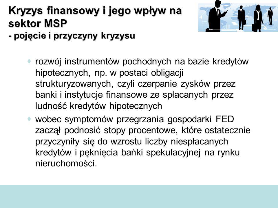  rozwój instrumentów pochodnych na bazie kredytów hipotecznych, np. w postaci obligacji strukturyzowanych, czyli czerpanie zysków przez banki i insty