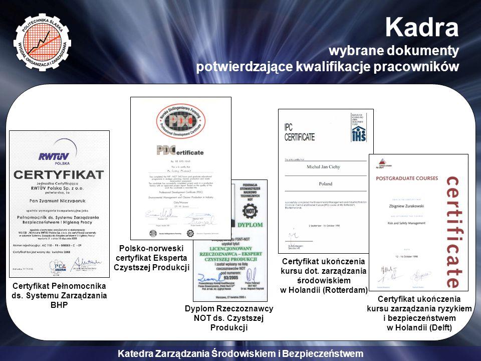 Katedra Zarządzania Środowiskiem i Bezpieczeństwem Kadra wybrane dokumenty potwierdzające kwalifikacje pracowników Certyfikat Pełnomocnika ds. Systemu