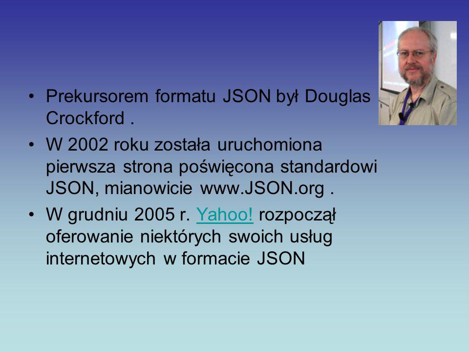 Prekursorem formatu JSON był Douglas Crockford. W 2002 roku została uruchomiona pierwsza strona poświęcona standardowi JSON, mianowicie www.JSON.org.