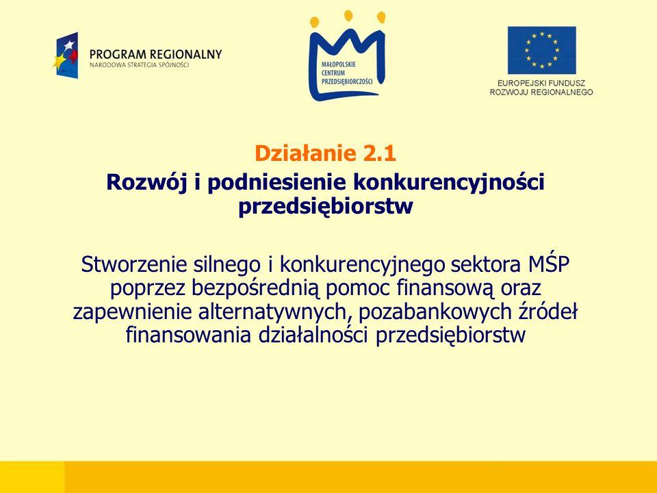 Działanie 2.1 Rozwój i podniesienie konkurencyjności przedsiębiorstw Stworzenie silnego i konkurencyjnego sektora MŚP poprzez bezpośrednią pomoc finansową oraz zapewnienie alternatywnych, pozabankowych źródeł finansowania działalności przedsiębiorstw
