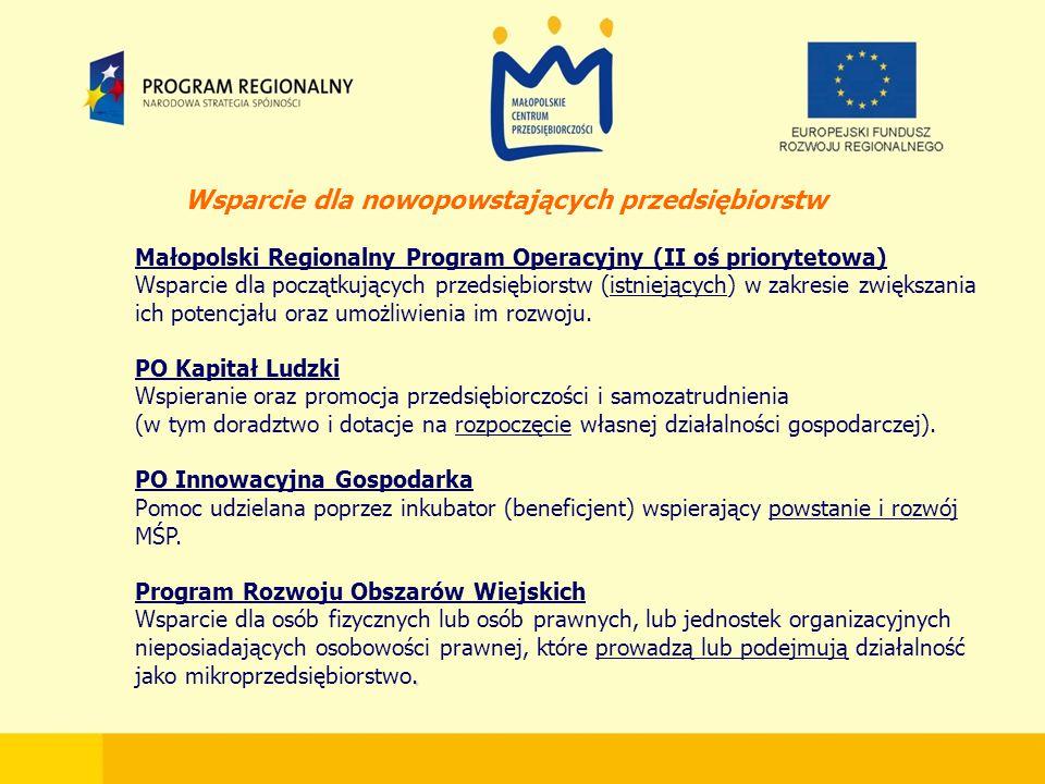 Wsparcie dla nowopowstających przedsiębiorstw Małopolski Regionalny Program Operacyjny (II oś priorytetowa) Wsparcie dla początkujących przedsiębiorstw (istniejących) w zakresie zwiększania ich potencjału oraz umożliwienia im rozwoju.