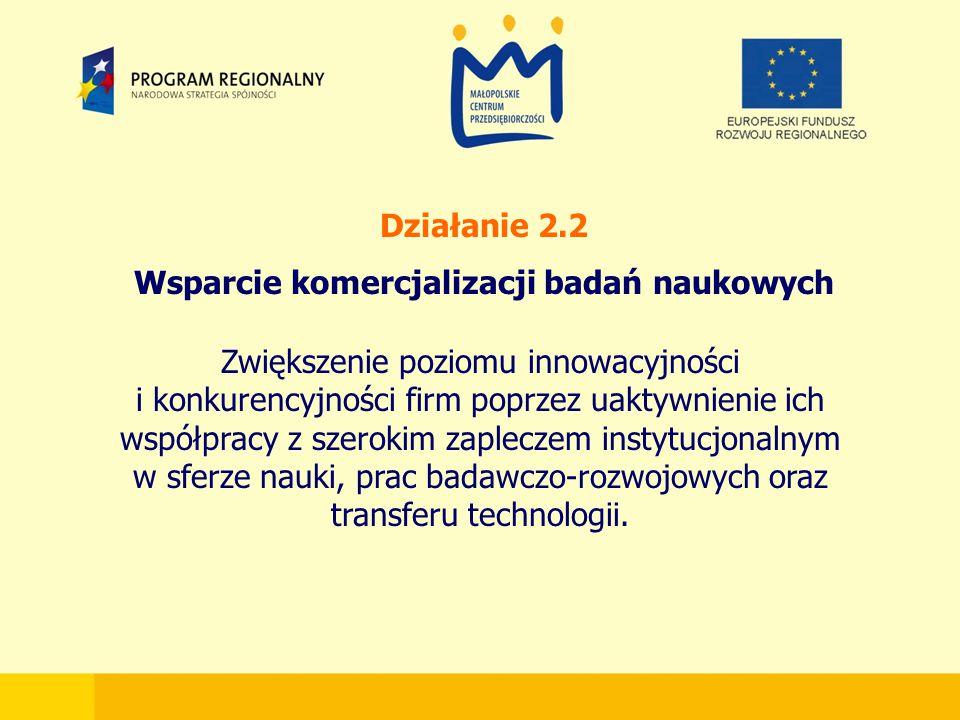 Działanie 2.2 Wsparcie komercjalizacji badań naukowych Zwiększenie poziomu innowacyjności i konkurencyjności firm poprzez uaktywnienie ich współpracy z szerokim zapleczem instytucjonalnym w sferze nauki, prac badawczo-rozwojowych oraz transferu technologii.