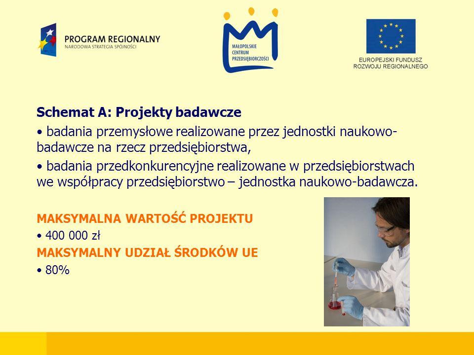 Schemat A: Projekty badawcze badania przemysłowe realizowane przez jednostki naukowo- badawcze na rzecz przedsiębiorstwa, badania przedkonkurencyjne realizowane w przedsiębiorstwach we współpracy przedsiębiorstwo – jednostka naukowo-badawcza.