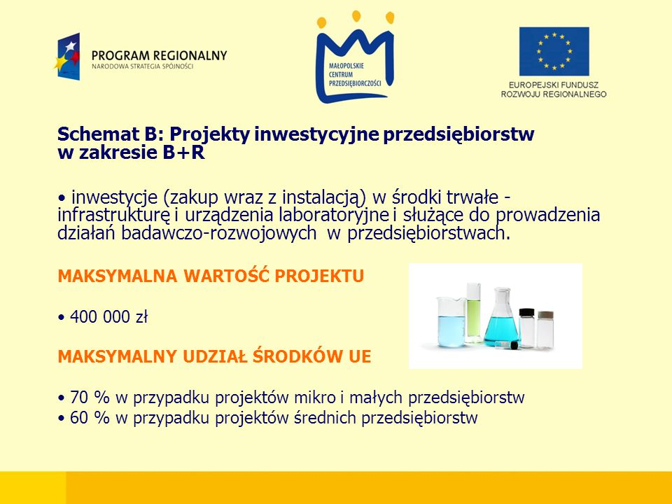 Schemat B: Projekty inwestycyjne przedsiębiorstw w zakresie B+R inwestycje (zakup wraz z instalacją) w środki trwałe - infrastrukturę i urządzenia laboratoryjne i służące do prowadzenia działań badawczo-rozwojowych w przedsiębiorstwach.