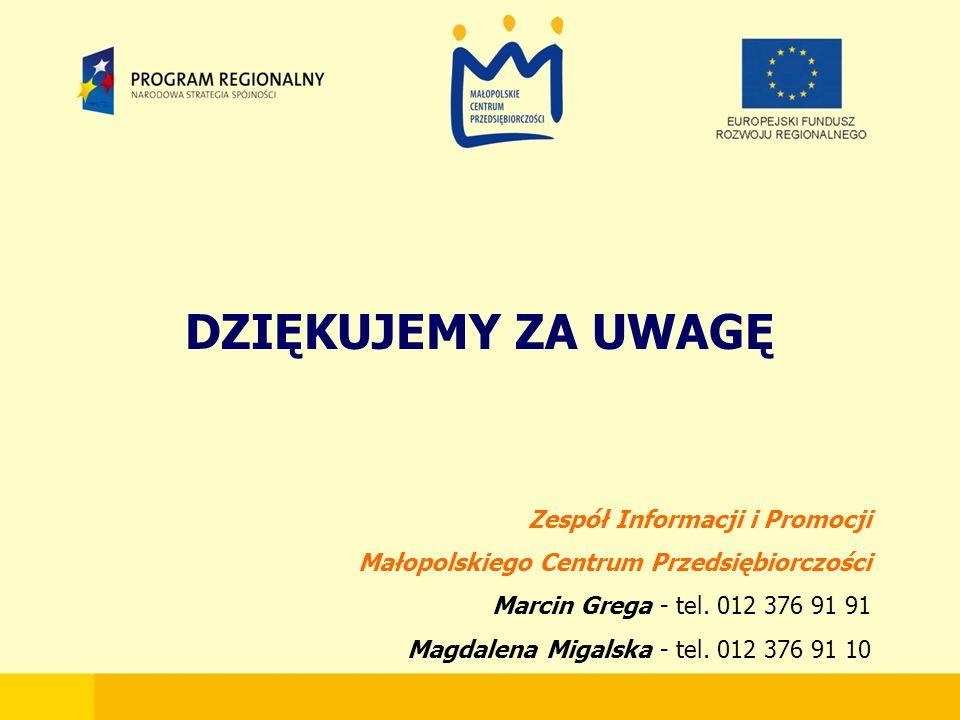 DZIĘKUJEMY ZA UWAGĘ Zespół Informacji i Promocji Małopolskiego Centrum Przedsiębiorczości Marcin Grega - tel.