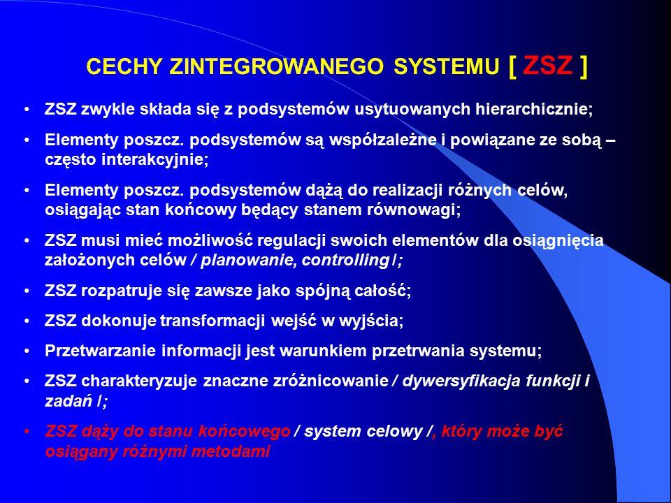 CECHY ZINTEGROWANEGO SYSTEMU [ ZSZ ] ZSZ zwykle składa się z podsystemów usytuowanych hierarchicznie; Elementy poszcz. podsystemów są współzależne i p